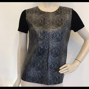 Snake print faux leather short sleeve tee